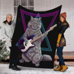 Cat Custom Blanket Bass Cat Blanket - Fleece Blanket