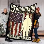 Custom Blanket Proud U.S Army Grandpa Blanket  - Fleece Blanket