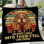 Custom Blanket Cocker Spaniel Dog Vintage Blanket - Fleece Blanket