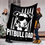 Custom Blanket Pitbull Dad Mens Blaket - Perfect Gift For Dad - Fleece Blanket