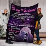 Custom Blanket To My Husband Wolf Blanket - Perfect Gift For Husband - Fleece Blanket