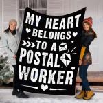 Custom Blanket My Heart Belongs To A Postal Worker Blanket - Fleece Blanket