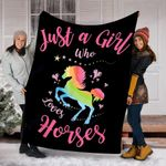 Custom Blanket Horses Blanket - Gift For Girls - Fleece Blanket