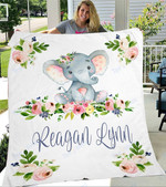 Custom Blanket Elephant Personalized Name Blanket - Gift For Baby - Fleece Blanket