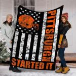 Custom Blanket Pittsburgh Started It Blanket - Fleece Blanket