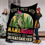 Custom Blanket Dinosaur MamaSaurus Blanket - Gift For Mama - Fleece Blanket