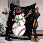 Custom Blanket Christmas Baseball Baseball Snowman Dab Blanket - Fleece Blanket