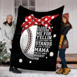 Custom Blanket Biggest Fan Baseball Mom Blanket - Gift For Mom - Fleece Blanket
