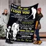 Custom Blanket Hockey Personalized Name Blanket - Gift For Son - Fleece Blanket