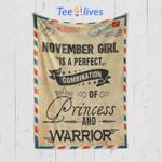 Custom Blanket Letter November Girl Princess and Warrior Blanket - Happy Birthday Daughter