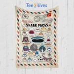 Custom Blanket Letter Shark Faces Blanket - Gift for Son & Daughter