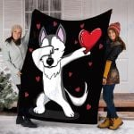 Custom Blanket Dabbing Husky Dog Blanket - Valentines Day Gifts - Fleece Blanket