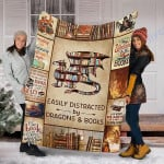 Custom Blanket Dragon And Books Blanket - Fleece Blanket