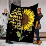 Custom Blanket Sunflower Social Worker Blanket - Fleece Blanket