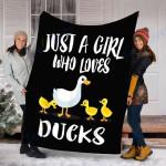 Custom Blanket Ducks Duck Blanket - Perfect Gift For Girl - Fleece Blanket