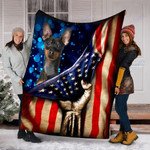 Custom Blanket Miniature Pinscher Dog American Flag Blanket - Dog Gifts - Fleece Blanket