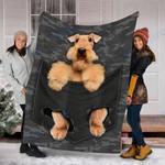 Custom Blanket Airedale Terrier Dog Pocket Blanket - Fleece Blanket
