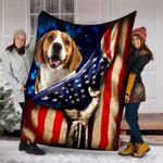 Custom Blanket Beagle Dog American Flag Blanket - Dog Gifts - Fleece Blanket