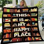 Custom Blanket This Is My Happy Place Book Blanket - Fleece Blanket