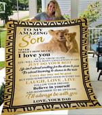 Custom Blanket Lion To My Son Blanket - Gift For Son