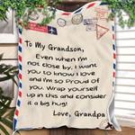 Custom Blanket Letter Grandpa To My Grandson Blanket - Gift For Grandson