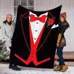 Custom Blanket Valentine's Day Tuxedo Red Bow Tie Costume for Guys Blanket - Perfect Gift For Valentine - Fleece Blanket