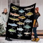 Custom Blanket Types Of Freshwater Fish Species Fishing Blanket - Fleece Blanket