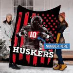 Custom Blankets Nebraska Cornhuskers Football Personalized Blanket - Fleece Blanket