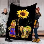 Custom Blanket You Are My Sunshine Sunflower Hippie Girl & Elephant Blanket - Fleece Blanket