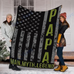 Custom Blanket Papa Man Myth Legend American Blanket - Fleece Blanket