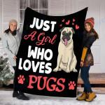 Custom Blanket Pugs Blanket - Perfect Gift For Girl - Fleece Blanket