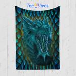 Custom Quilt Blanket Blue Dragon Blanket - Quilt Blanket