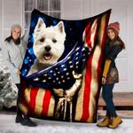 Custom Blanket West Highland White Terrier Dog American Flag Blanket - Fleece Blanket