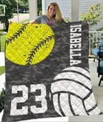 Custom Blankets Softball Volleyball Personalized Blanket - Quilt Blanket