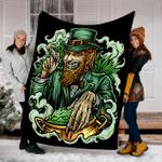 Customs Blanket 420 Leprechaun Stoner Irish Pot of Weed Beard Legalize Blanket - Fleece Blanket