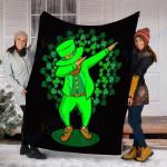 Custom Blanket Dabbing Leprechaun Blanket - St Patrick's Day Gifts - Fleece Blanket #37749