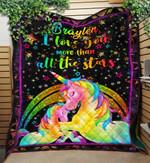 Custom Name Blanket Personalized Unicorn Blanket - Gift For Son & Daughter - Quilt Blanket