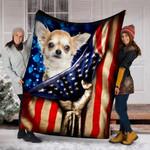 Custom Blanket Chihuahua Dog American Flag Blanket - Dog Gifts - Fleece Blanket