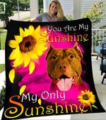 Custom Blanket American Pit Bull Terrier Face My Sunshine Blanket - Fleece Blanket
