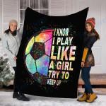 Customs Blanket Soccer Blanket - Perfect Gift For Girl - Fleece Blanket
