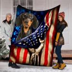 Custom Blanket Dachshund Dog American Flag Blanket - Dog Gifts - Fleece Blanket