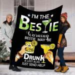 Customs Blanket If Lost Or Drunk Please Return To Bestie Margarita Blanket - Fleece Blanket