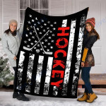 Customs Blanket American Flag Hockey USA Patriotic Blanket - Fleece Blanket