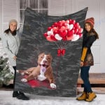 Customs Blanket Pitbull Dog Blanket - Valentines Day Gifts For Her - Fleece Blanket