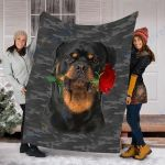 Customs Blanket Rottweiler Rose Dog Blanket - Valentines Day Gifts For Her - Fleece Blanket