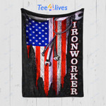 Custom Quilt Blanket Ironworker Flag Blanket - Gift For Husband
