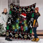Custom Blanket Black Cat Kitten Ugly Christmas Blanket - Fleece Blanket