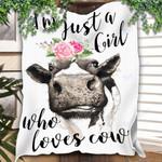 Cows Custom Blanket Just A Girl Who Loves Cows Farmer Blanket - Fleece Blanket