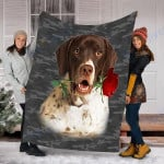 Customs Blanket Pointer Rose Zipper Dog Pocket Blanket - Fleece Blanket