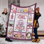 Customs Blanket Just A Girl Who Love Owls Blanket - Fleece Blanket